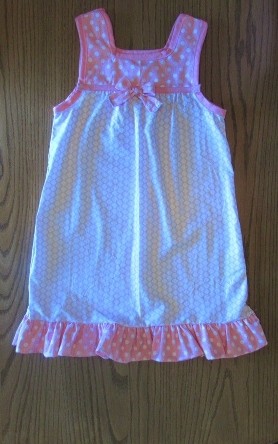 Girls nightgown / long nightgown/ summer nightgown / cotton nightgown/ purple or pink / polka dot and flowers