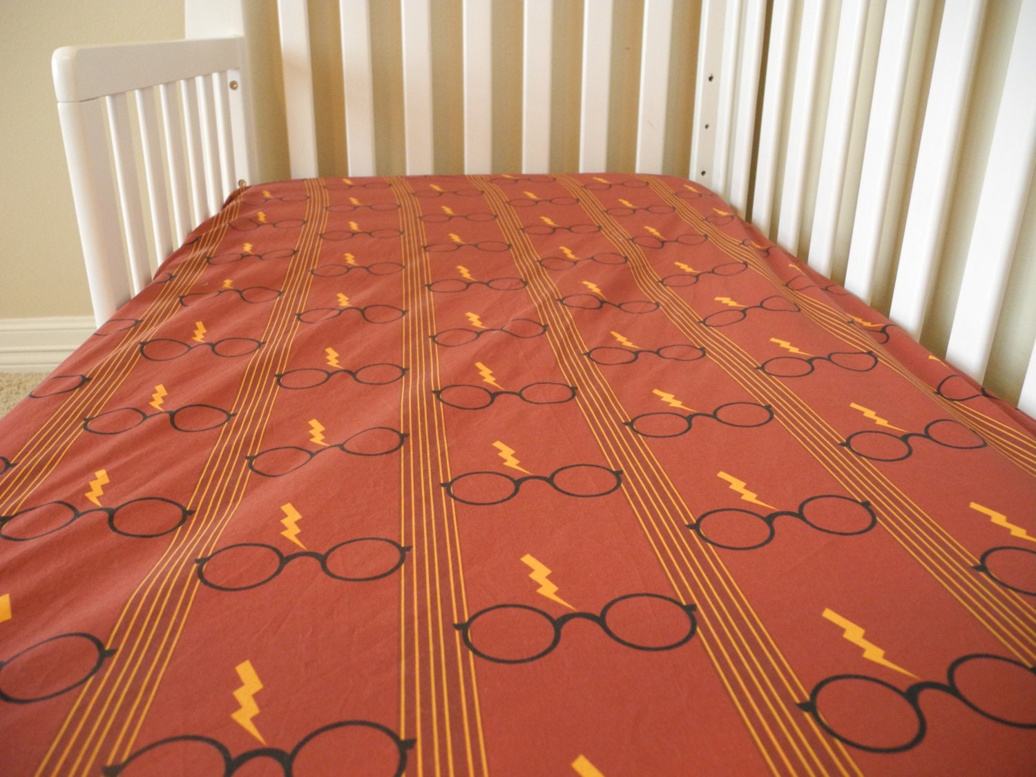Fitted crib sheet harry potter red crib sheet baby bedding - Harry potter crib set ...