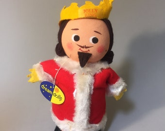 VINTAGE KING DOLL, Dakin Jolly King, Jolly King doll, vintage King Christmas Decor, holiday decor, Dakin Dream Dolls, retro holiday decor