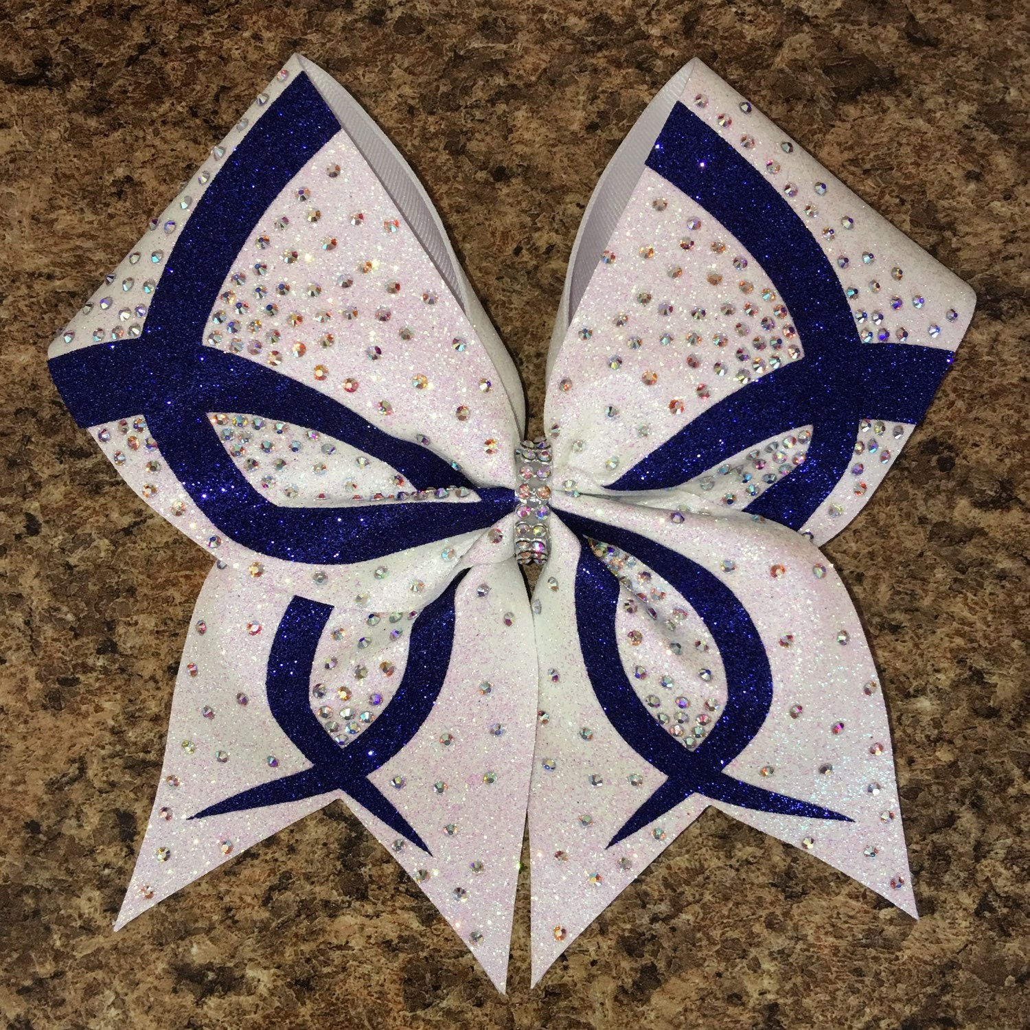 Rhinestone bow infinity wave design cheer bow available in