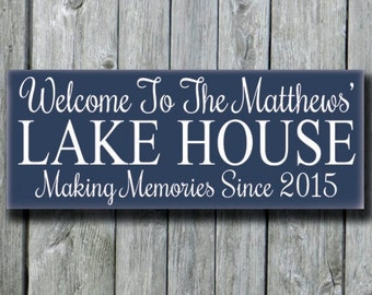Lake House Decor Sign,Personalized Lake House Family Name Wood Sign,Lakeside Life Memories Gift,New Home Plaque,Last Name Gift,Wood Sign