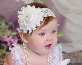 Baptism Headband/ White Headband/ Off White Baby Headband/ Lace Baby Headband/ Shabby Flower Baby Headband / Baby Girl Christening Headband