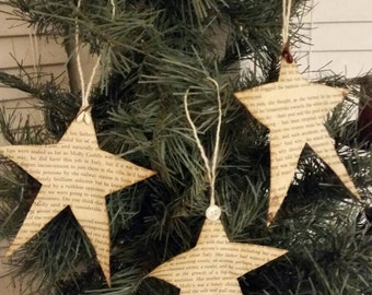 Handmade paper star ornaments, primitive Christmas, shabby chic, gift tags set of 3