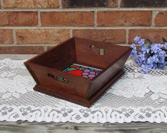 Wooden Square Bowl with Ceramic Insert ~ Wooden Fruit or Bread Bowl ~ Cottage Décor ~ Key/Coin Catch All ~ Country Home ~ Wooden Tray