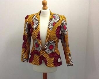 African Wax Print Daisy Blazer in UK size 12 (USA Size 8)