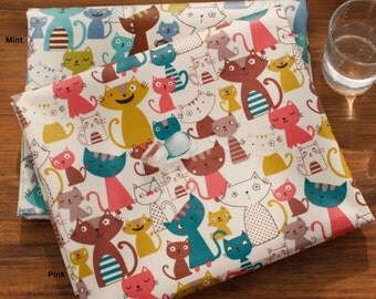 Laminated Oxford Cotton Fabric Cat in 2 Colors By The Yard