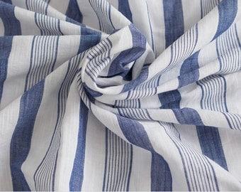 Slub Cotton Linen Fabric Navy Stripe By The Yard