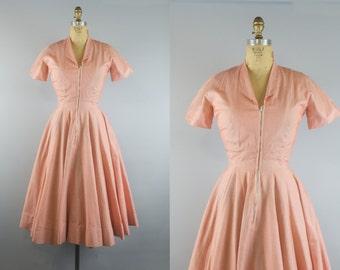 Sunkist Dress / 50s Dress / 1950s Orange Stripe Dress