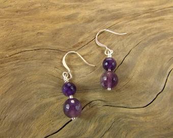 Genuine Faceted Amethyst Earrings, Amethyst Earrings, Amethyst and Sterling Silver Earrings, February Birthstone Earrings, Purple Earrings