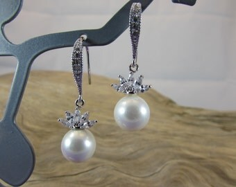 Pearl and Cubic Zirconia Earrings, White Pearl and Cubic Zirconia Earrings, Bride Earrings, Bridal Earrings, Handmade, Hand Crafted