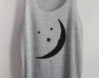 CLEARANCE Half Moon Art Tank Top Art  T-Shirt Women T-Shirt Tunic Top Vest Size S,M,L