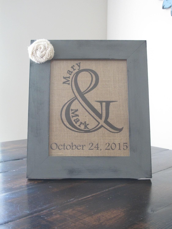 Ampersand burlap wedding print framed amperstand burlap for Ampersand decoration etsy