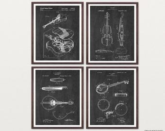 Bluegrass Music Patent Art - Bluegrass Art - Bluegrass Poster - Country Music Poster Country Music Art - Mandolin - Banjo - Guitar - Fiddle