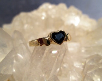Sapphire Heart w/ Wings Ring ~14K. Yellow Gold~ Handmade