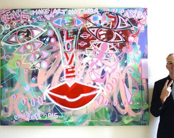 Chris Riggs original abstract face painting expressionism canvas modern contemporary fine street art eyes lips portrait NYC peace love