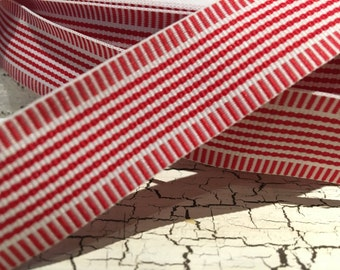 "3 YARDS 7/8"" Preppy Christmas WHIMSY STRIPE Red and White Grosgrain Ribbon"