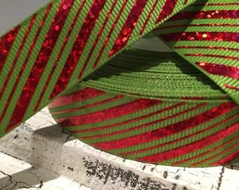 "3 yards 7/8"" Christmas Red Foil stripe diagonal on green grosgrain"