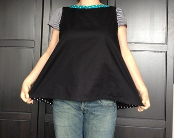 Womens black boat neck top with a-line fit / Everyday Superhero womens top / Retro-style summer top / Made to order / Sizes XS-XXL