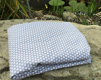 White Dots on Gray Honeycomb Background Gender Neutral Fitted Cradle Crib/Toddler Bed Sheets Standard Size Mattress 100 Percent Fine Cotton