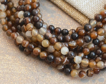 6mm Round Mixed Agate Beads, Natural Brown Agate Beads, Translucent Agate Beads, Mixed Color Agate Beads,  Agate Beads, One Strand,63 Beads