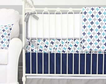15% OFF SALE - Cooper's Navy & Gray Swiss Cross Crib Bedding | Aqua, Gray, and Navy Boy bedding set | Gray and White Baby Bumpers