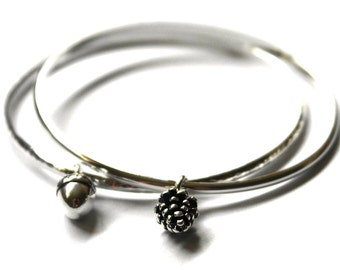 Sterling Silver Bangle set - Set of bangles - Stacking Bange set - 2 Bangles - Two bangles -  Autumn Jewellery - Acorn - Pine Cone