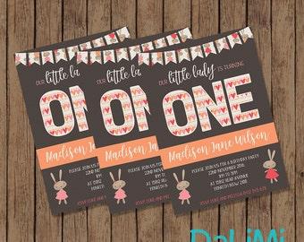 5 x 7 inch Invitation - 1st Birthday Invitation - Bunny Rabbit Party - Rabbit Invite - Printable Invitation!