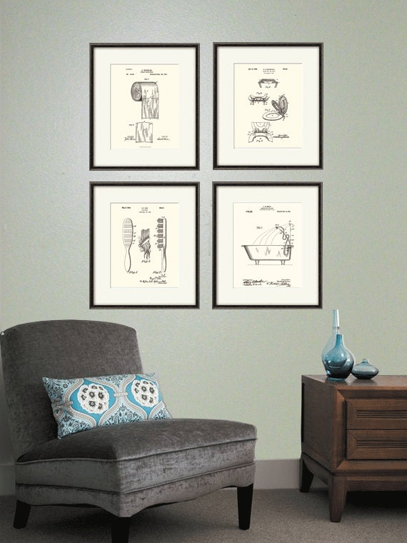 Bathroom Patent Art Print Bathroom Art Print Patent Poster