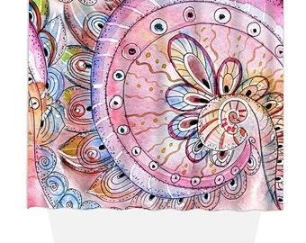 Shower Curtain, Home Decor, Bathroom Decor, India Ink Pink Swirl
