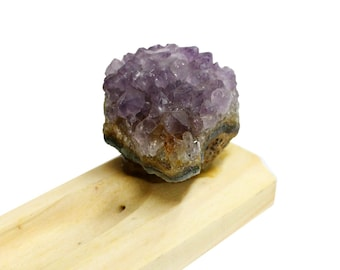 Amethyst Cluster Wooden Incense Burner - Incense Holder - (RK68B15)