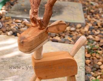 Deer Wood Carving Wooden Deer Figurine Sculpture Antler Decor Decal