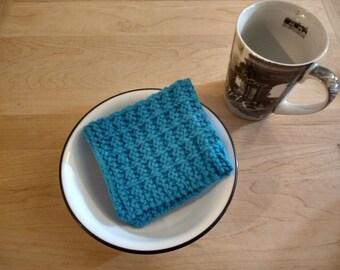 Hand Knit Dish Cloth/Wash Cloth - Hot Blue - housewarming gift/ hostess gift/ bridal shower gift/ wedding gift