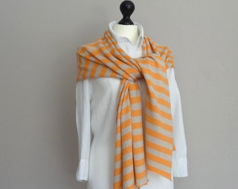 Large scarf / shawl / scarf in finest merino wool in natural-orange