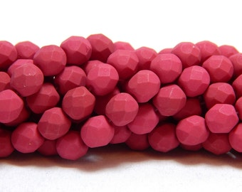 6mm Saturated Fuchsia Czech Beads, Fuchsia Beads, Rose Beads, Matte Pink Beads, 6mm Fuchsia Beads, Fushia Beads, Hot Pink Beads, T-36A