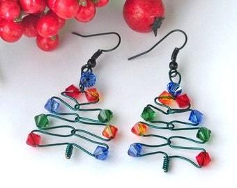 Christmas Earrings, Christmas Tree Earrings, Swarovski Christmas Earrings, Christmas Gift Earrings, Holiday Earrings, FREE SHIPPING