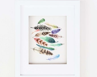 Matted 11x14 Watercolor Feather Print