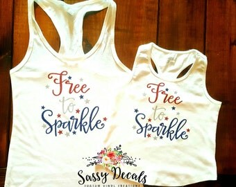 Free to sparkle Fourth of July tank!