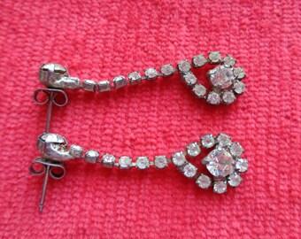 Vintage rhinestone drop chandelier earrings
