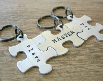 Master, Slave, Pet Keychains, set of 3 Interlocking puzzle pieces, customization options in listing, backside available, BDSM, Fetish