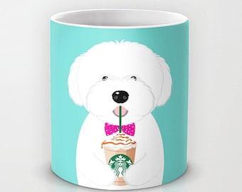 Personalized mug cup designed PinkMugNY - I love Starbucks - Coton de Tulear - Puppy