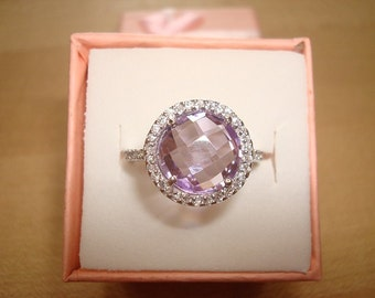 Checkerboard Cut Purple Amethyst And White Sapphire 925 Sterling Silver Halo Ring Size 6