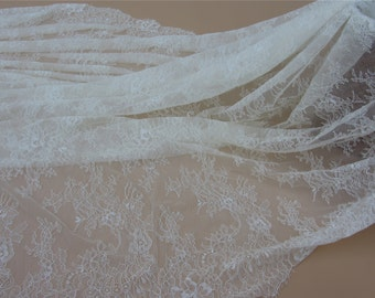Ivory Chantilly Lace Fabric ,1yards  cream eyelash lace fabric Bilateral Eyelash Lace-38