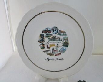 Mystic Connecticut Souvenir Plate City Plate State Plate Connecticut Plate Kitsch Decor Mystic souvenir State souvenir city souvenir