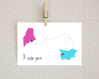 STATE TO COUNTRY I Miss You Card