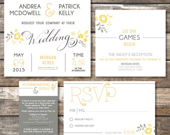 Country Chic Wedding Invitation Package