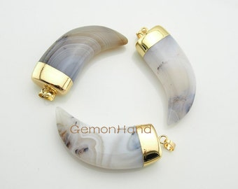 Lovely Horn Tusk,Grayish Lace Agate Horn with 24k Gold Electroplated Cap and Bail 141205003