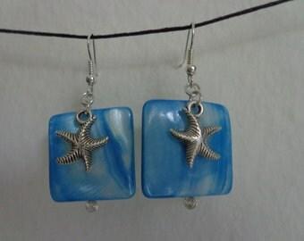 Blue Shell Starfish Earrings