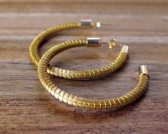 Hoop Golden Grass Earrings, Big Hoop, Golden Hoop Earrings, Post Hoop Earrings, Fiber Hoop Earrings, Brazilian Straw, Organic Hoop Earrings