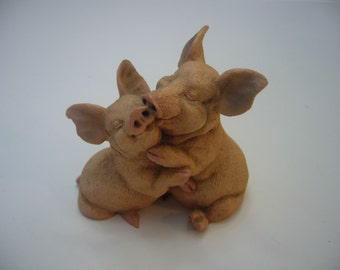 Castagna Figurine Pig Lovers, Retired, Made in Italy in 1988