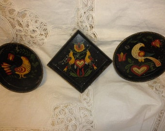 Handpainted Tins with Partriges ready to Hang